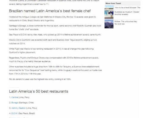 La Cabrera, puesto 19 en los Latin América's 50 Best Restaurants.